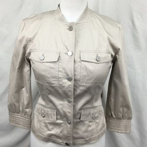 Calvin Klein Cream Bomber Ruched Back Jacket Sz 2